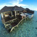 Bungalows on the water in the maldives